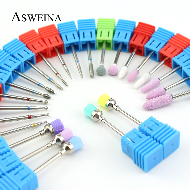 24 Type Diamond Ceramic Nail Drill Bit Cuticle Clean Rotary Milling Cutter Machine Bits Apparatus For Manicure Accessories Tools