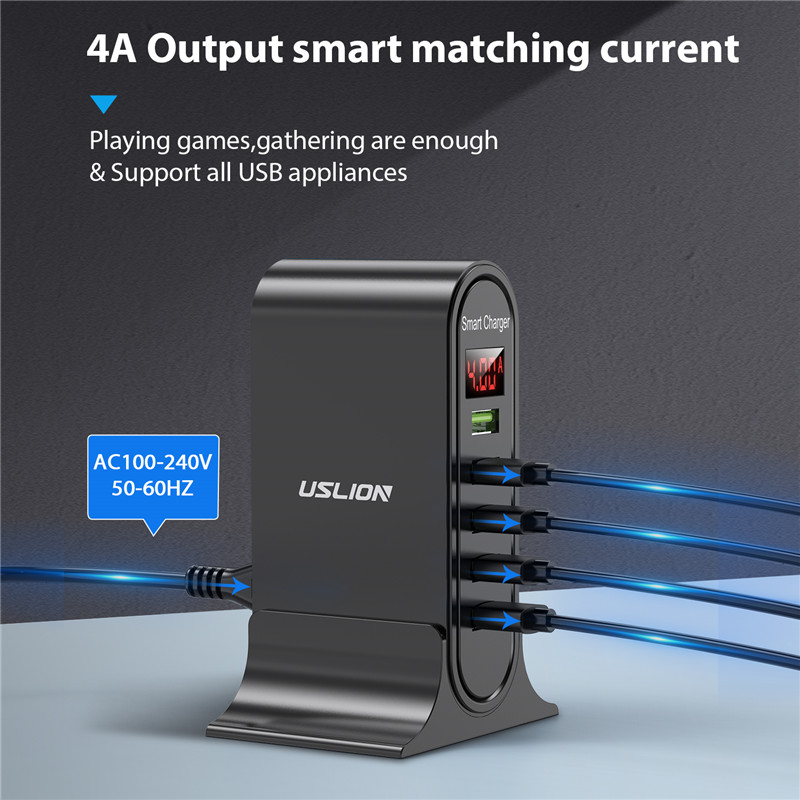 USLION 5 Port USB Charger with LED Display for Universal Phone 3
