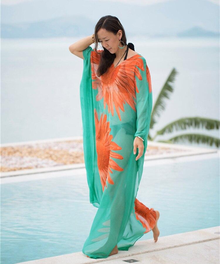 Europe And America New Style Green Base Sunflower Printed Loose And Plus-sized Beach Skirt Chiffon Sun Shirt Bikini Outer Blouse