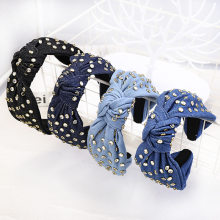 Denim Korean Style Women Adult Fashion Solid Hair Accessories Baroque Headbands with Rhinestones Head Band Headwear Headdress(China)