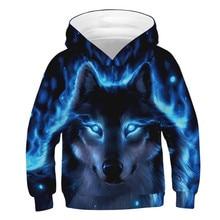 Fashion Wolf 3D Print Hoodies for Teen Girls Boys Hip Hop Outerwear Childrens Sweatshirt Kids 3D Hoodie Clothes Pullover