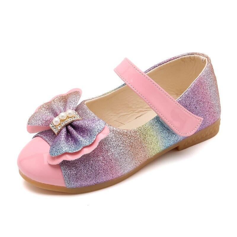 ULKNN Girls Side Scoop Bootie Children Leather Shoes Fashion Soft-Sole Cute Princess Shoes Big Baby Girls Moccosins