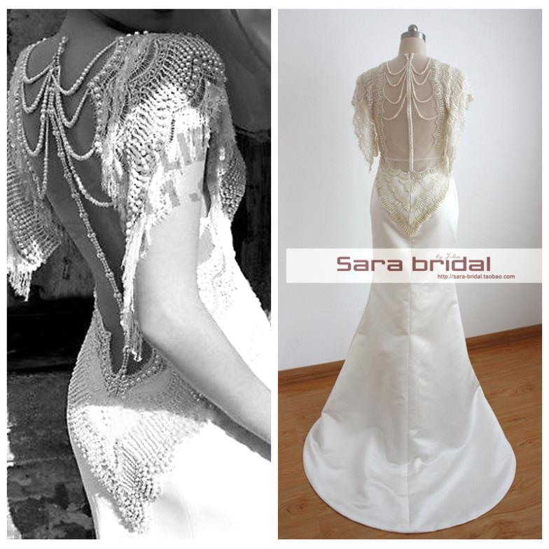 Free Shipping 2016 Woman Dress Sexy New Design Fashion Luxury Pearl Beaded Maxi Dress Beach Lace Wedding Dresses Bridal Gowns