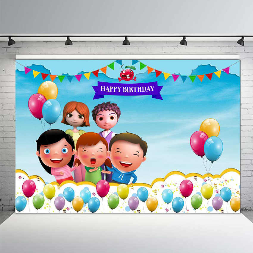 Children Cartoon Photography Background Cartoon Cocomelon Family Theme Backdrop Curtains Baby Shower Newborn Birthday Party Backdrops Colorful Balloon Bunting YouTube Video Shooting Background