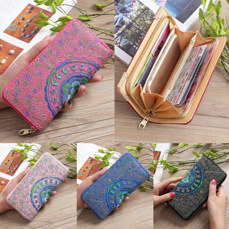 2020 Newest Hot Women Ladies Vantage Boho Style Embroidery Wallet Long Zip Purse Card Phone Holder Case Clutch Wallets