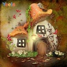 Wonderland Fairy Tale Dreamy Mushroom House Backdrop Newborn Baby Shower Portrait Vinyl Photography Background For Photo Studio