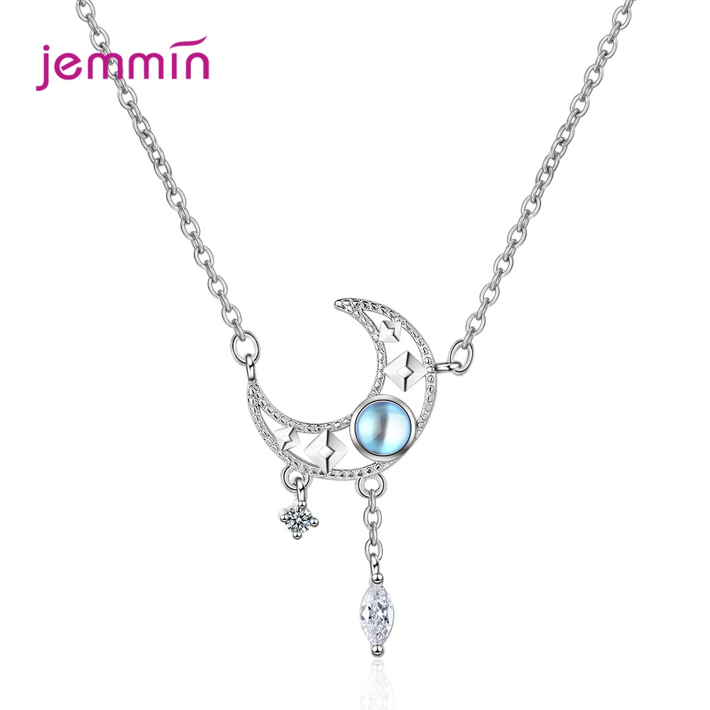 925 Sterling Silver Necklace Hollow Moonstone Tassel Cubic Zircon Pendant Women Wedding Couple Geometric Party Jewelry