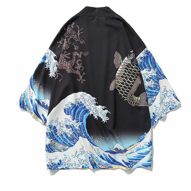 Printed Fish Men Casual Novelty Cardigan Kimono Haori Literary Japanese Yukata Male Oversized Traditional Style Loose Robe