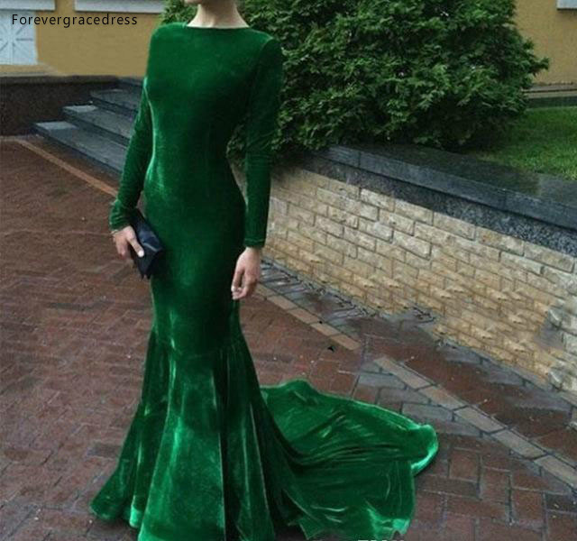 2019 Cheap Hunter Green Velvet   Evening     Dress   Arabic Long Sleeves Formal Holiday Wear Party Gown Custom Made Plus Size