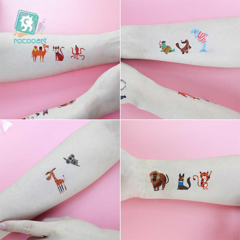 Rocooart, bonitos tatuajes de animales para niños, dinosaurio, León, Taty, Tatuaje falso impermeable, conejo, tatuajes, pegatinas, arte corporal, tatuaje de dibujos animados