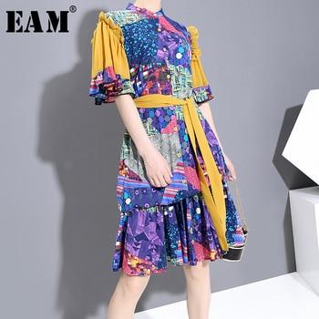[EAM] Women Blue Pattern Printed Bandage Ruffles Dress New Satnd Collar Half Sleeve Loose Fit Fashion Spring Summer 2020 1W006