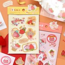 3 Pcs/set Cute Sweet Strawberry Diary Journal Decorative Stickers Scrapbooking Stick Label Diary Stationery Album Stickers