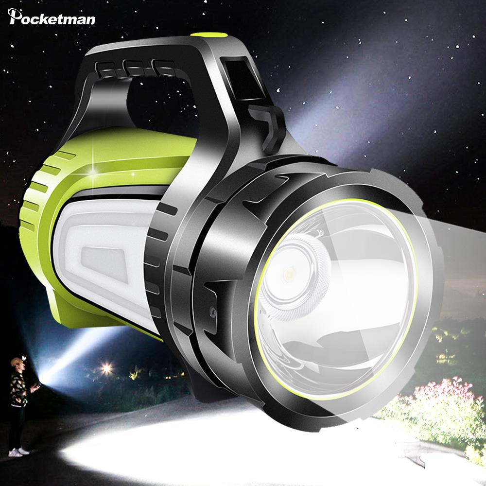 Super Bright Rechargeable Searchlight LED Flashlight Spotlight Long Standby Flashlight USB Output As Mobile Power