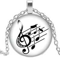 2019 New Handmade I Love Music Notes Pendant 3 Color Glass Cabochon Necklace Fashion Jewelry Sweater Chain