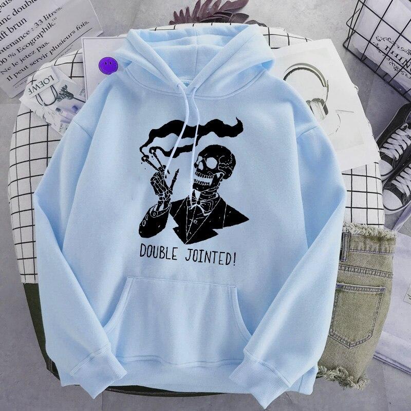 Punk style women's hoodie skull long sleeve casual top goth skeleton dark black 2021 loose ulzzang fashion women's sweatshirt 21
