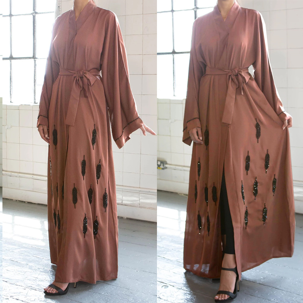 Open Abaya Dubai Muslim Maxi Dress Turkish Kaftan Kimono Bangladesh Robe Islamic Clothing Caftan UAE Ramadan Party Gown Jilbab