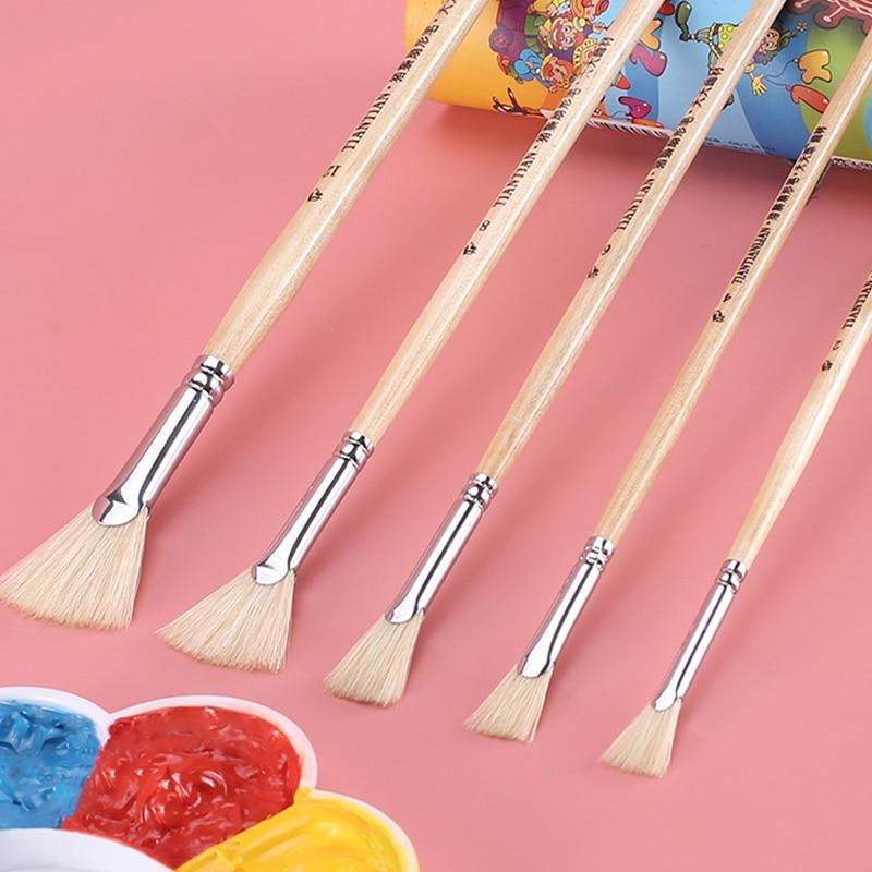 Fan Brush Bristle Brush Fish Tail Fan Pen Watercolor Gouache Oil Painting Acrylic Paint Pen Single