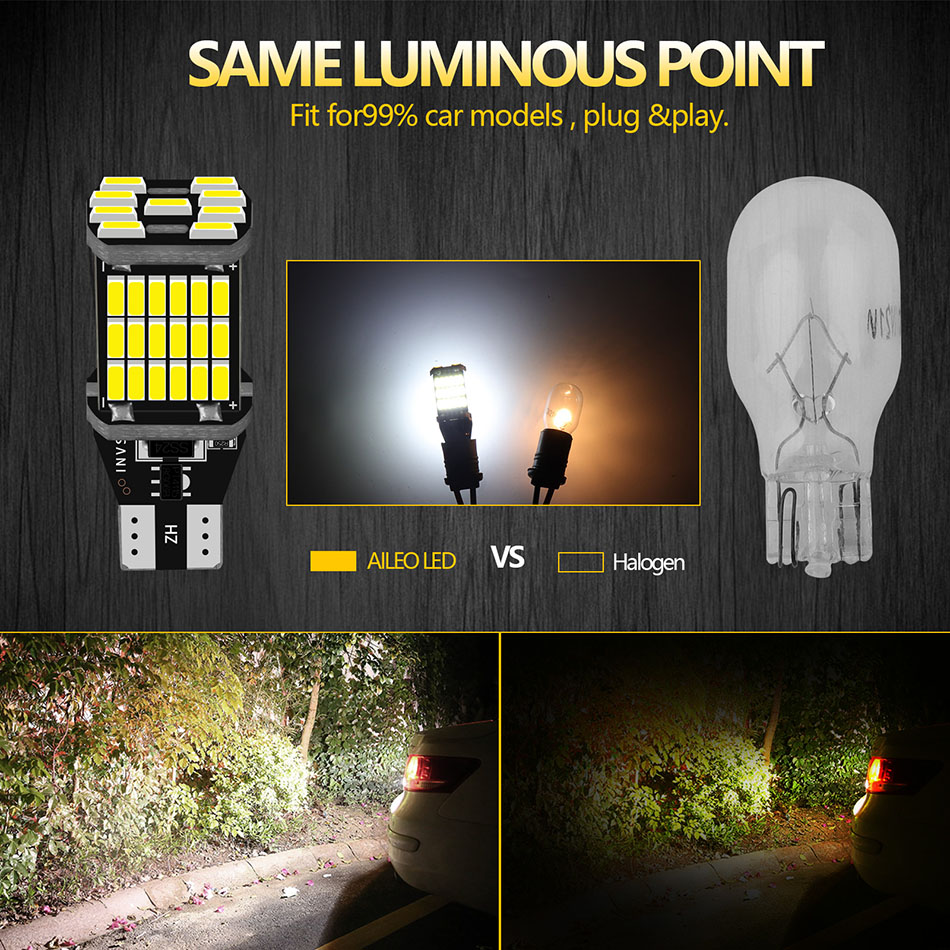 AILEO 2PCS T15 W16W 921 912 T16 902 LED Bulbs High Power 45pcs 4014SMD Super Bright 1200LM Replace For Car Reversing Light White 2