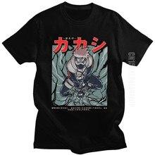 Kakashi hatake camisa masculina 100% algodão anime manga sharingan camiseta crewneck verão naruto ninja camisa japão estilo roupas