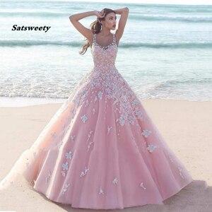 Бальное платье Quinceanera размера плюс на 15 лет, бальное платье до пола из органзы с аппликацией и открытой спиной для выпускного вечера
