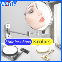 Bathroom Mirror Round Double Side Wall Makeup Mirror Stainless Steel Double Face Dressing Decorations Living Room Mirrors
