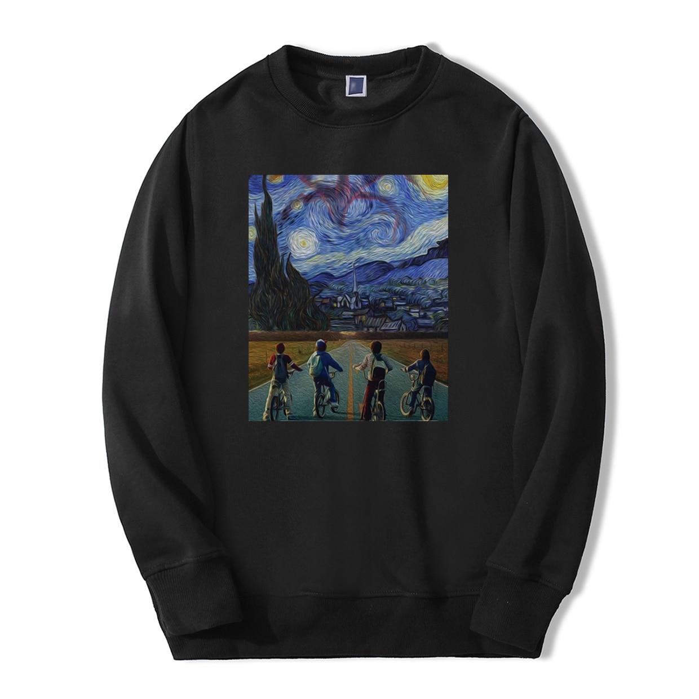 Van Gogh's Stranger Things TV Show Men Sweatshirt 2019 Spring Winter Casual Fleece High Quality Men Fashion Men Vintage Hoodies