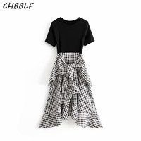 CHBBLF women stylish plaid patchwork irregular midi dress short sleeve side zipper fly bow tie sashes female chic dresses HGH207