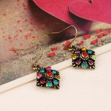 Boho Vintage Earrings for Women Crystal Flower Star Heart Dangle Drop Long Big Statement Bohemian Jewelry
