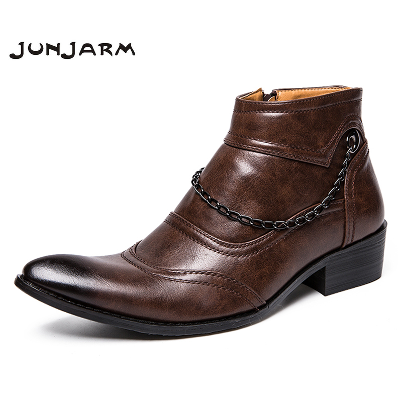 JUNJARM British Retro Men Boots Fashion Men Chelsea Boots Casual Boots Men Fashion Shoes Quality Zapatillas