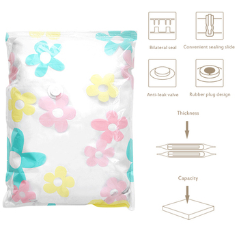 130CM Sunflower Vacum Bag Compression Storage Bag Clothes Organizer Space Saving Vacuum Bags For Clothes Quilt Blankets Pillows image