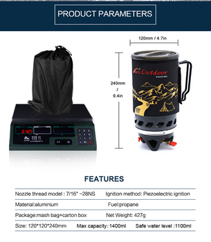 Portable Gas Stove | APG 1400ml Camping Gas Stove Fires Cooking System And Portable Gas Burners