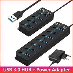 USB 3,0 концентратор USB разветвитель на 4 - 7 Порты и разъёмы высокое Скорость мульти разветвитель с Мощность адаптер со светодиодным индикаторо...