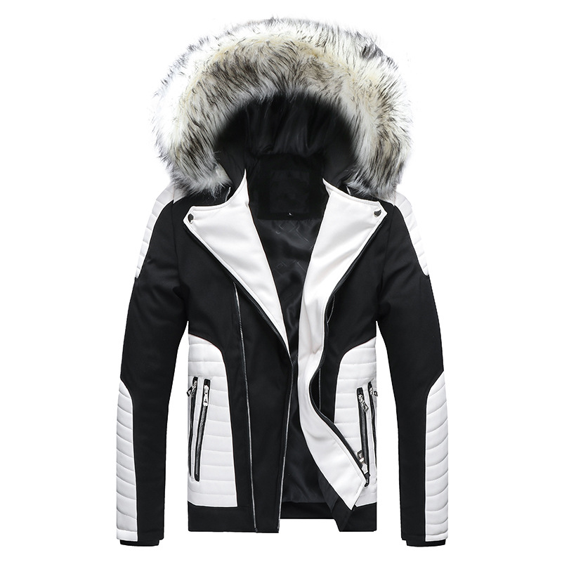 Winter Men's Cotton Coat New Fur Collar Detachable Hooded Pu Jacket Europe Large Size Thick Cotton Clothing Doudoune Homme