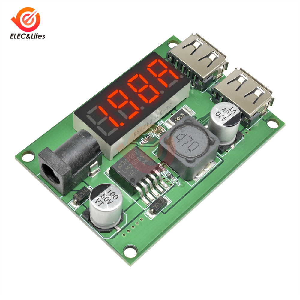 Dual <font><b>USB</b></font> digital voltmeter <font><b>Step</b></font> <font><b>Down</b></font> bord DC-DC 6 V-40 V zu 5V <font><b>3A</b></font> <font><b>USB</b></font> Auto Ladegerät lade Buck Voltage <font><b>Regulator</b></font> 12V 24V 36V DC image