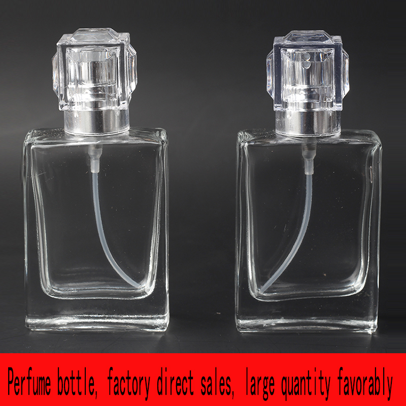 Jxcaih 1Pcs 30Ml Portable Clear Glass Spray Perfume Bottle 50Ml High Quality Cosmetic Empty Container