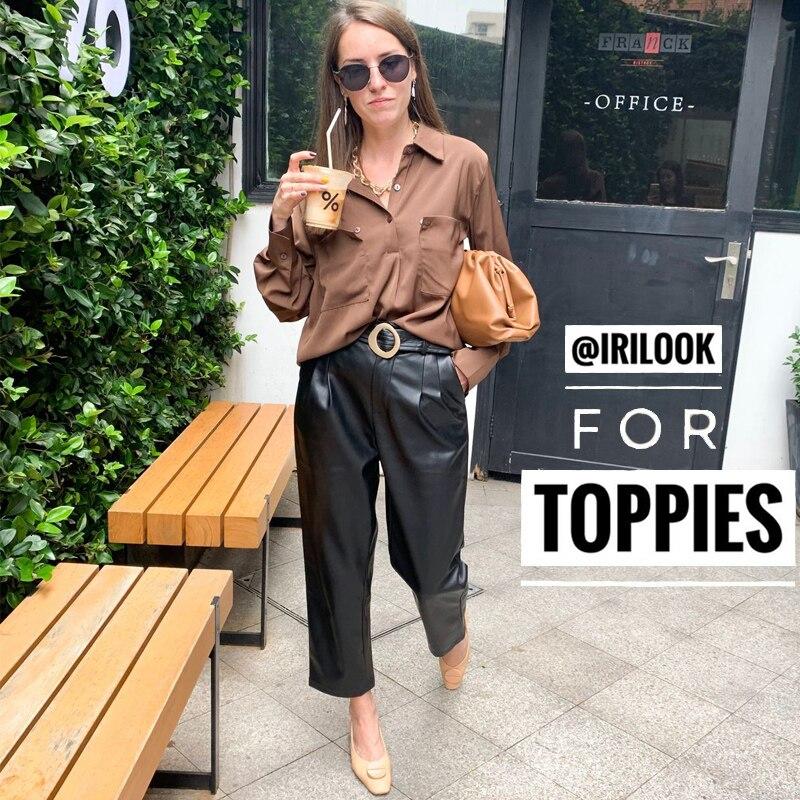 Cuir synthétique polyuréthane noir pantalon 2019 automne hiver taille haute Faux cuir pantalon dames jambe large pantalon femme