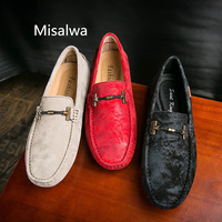 Misalwa Hot Sale Men's Driving Shoes Premium Genuine Leather Driver Driving Style Loafer Red Soft Men Casual Moccasins Boat Shoe