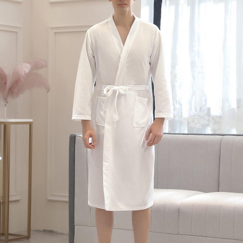 Shujin Robe Pajamas Kimono Waffle Sweating Long-Nightgown Lightweight Soft for Men Absorbent