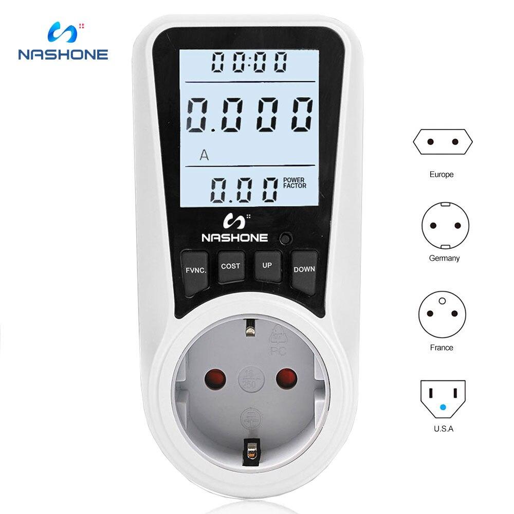 Digital Wattmeter AC BR Power Meter 220V LCD Energy Meter Power Monitor EU Plug Socket Power Kilowatt Wattage Voltage AMP