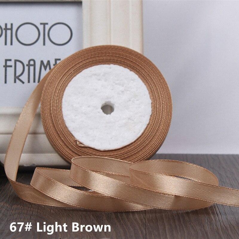 25 ярдов/рулон 6 мм 10 мм 15 мм 20 мм 25 мм 40 мм 50 мм шелковые атласные ленты для рукоделия бант ручной работы подарочная упаковка вечерние свадебные декоративные - Цвет: 67 Light brown