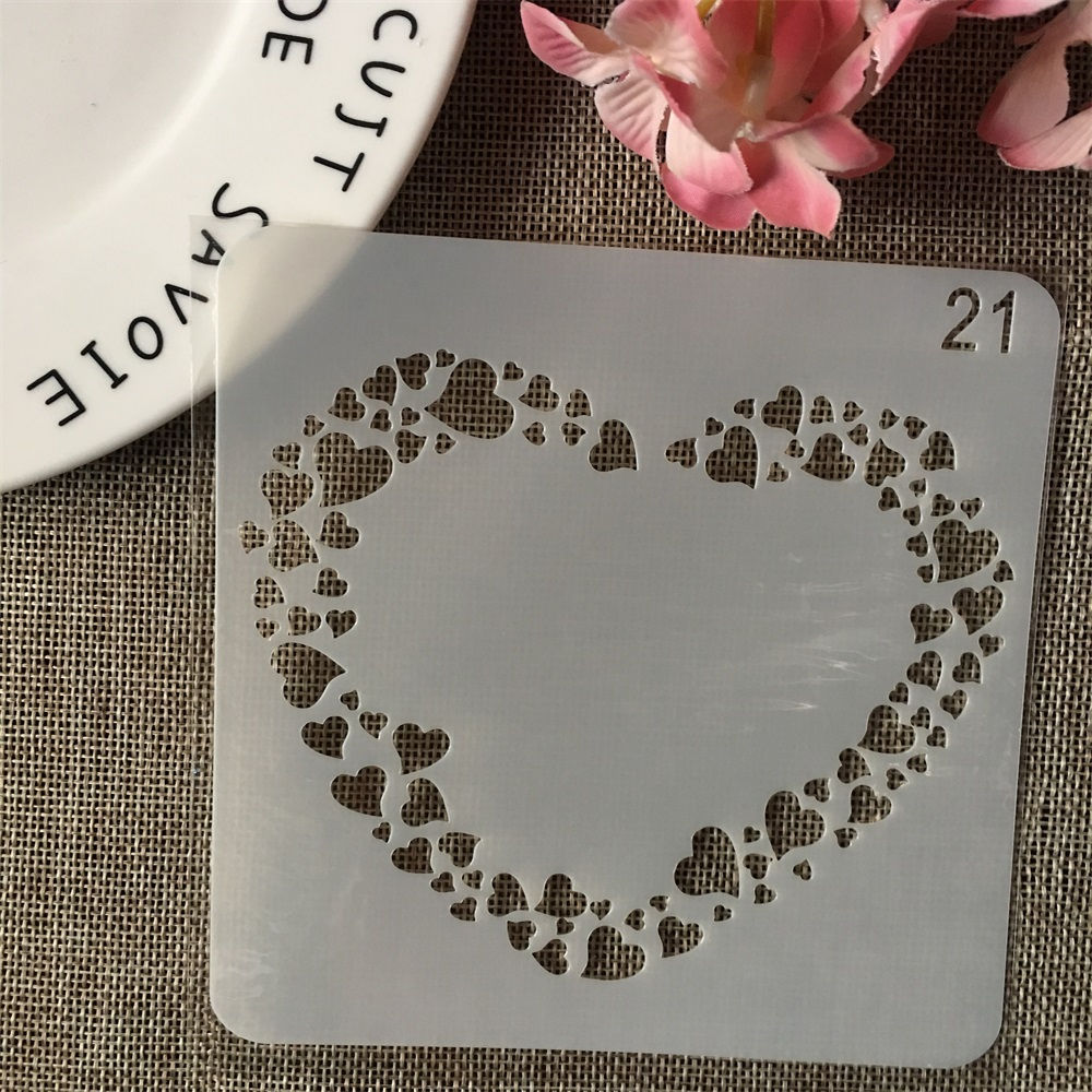 13cm Heart Texture Hollow DIY Layering Stencils Wall Painting Scrapbook Coloring Embossing Album Decorative Card Template