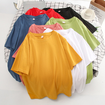 Basic Cotton T Shirt Women Summer New Oversized Solid Tees 7 Color Casual Loose Tshirt Korean O Neck Female Tops 1