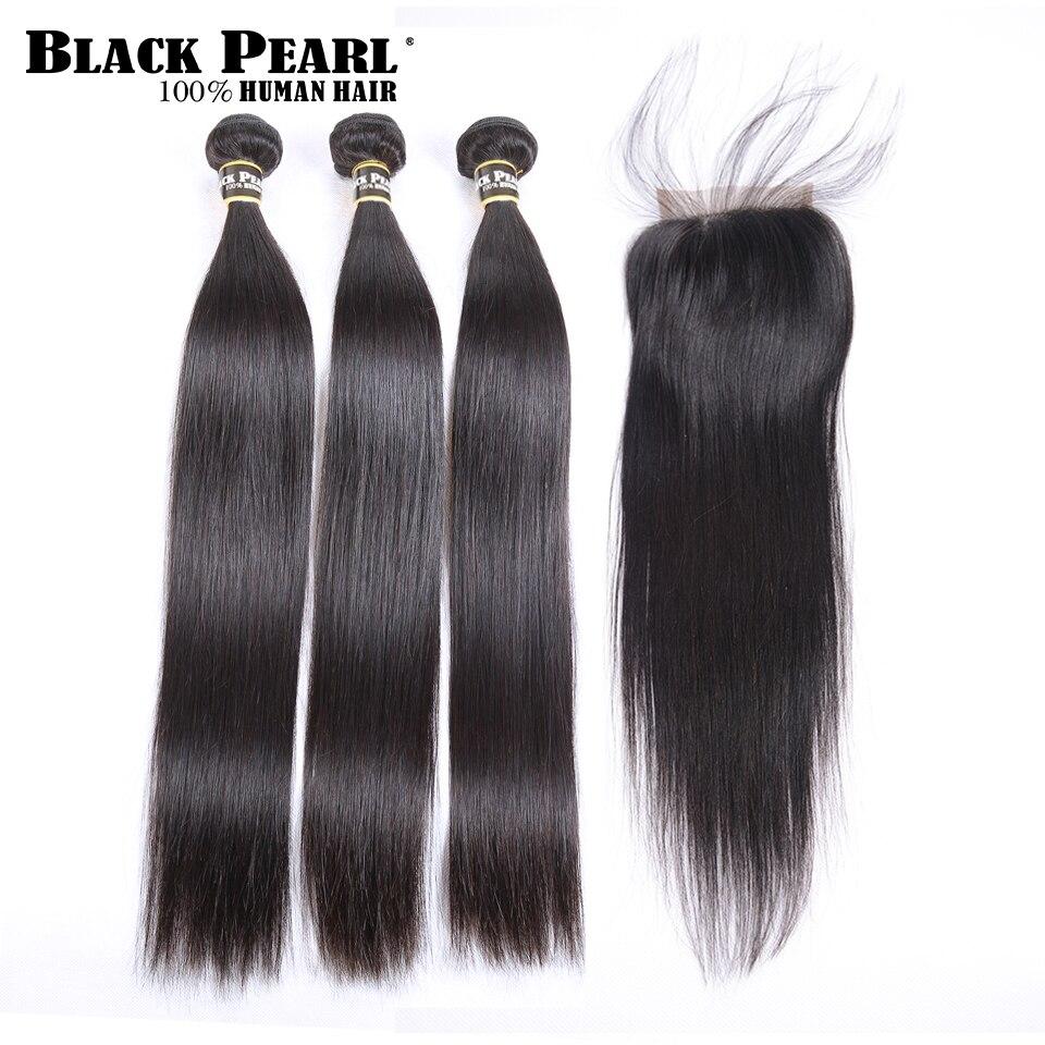 Black Pearl Pre-Colored 3 Bundles With Closure Straight Human Hair Bundles With Closure Brazilian Hair Weave Bundles 9A-Remy