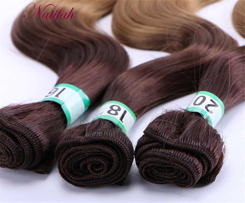 Natifah Ombre Body Wave Bundles Synthetic Hair Weave Bundles 16 18 20 Inches Synthetic Hair Extension 70g /pcs Two Tone