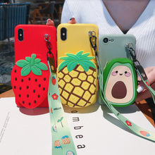 3D Leuke Wallet Case Voor Samsung Galaxy Note 10 Plus 9 8 5 J2 Pro 2018 Cover Met Lanyard Aardbei avocado Ananas Case()