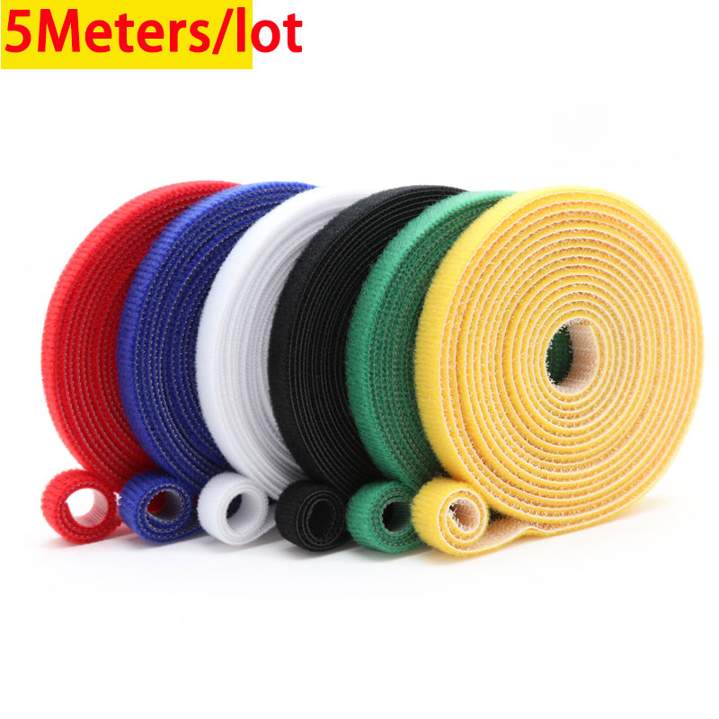5 meters 10/15/20/25mm Velcros Self Adhesive Fastener Tape Reusable Hooks Loops Cable Tie Wire Straps Magic Tape DIY Accessories