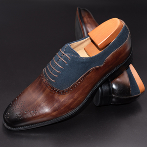 Image 3 - Men Dress Shoes Leather Office Business Wedding Handmade Mixed Color Brogue Formal Round Toe Oxford Mens Shoe