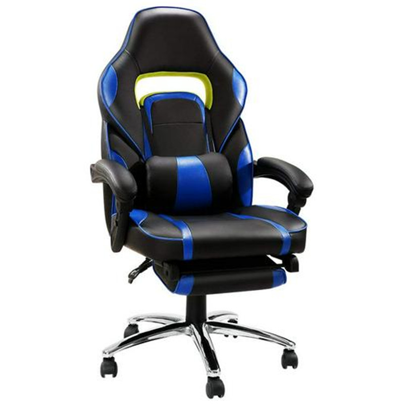 New Gaming Office Chair With Armrests Headrest Footrest High Back Tilt Swivel Chair For Working Studying Gaming PU Leather HWC