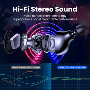 Image 2 - FIVI Bluetooth 5.0 Earphones Wireless Headphones Sport Waterproof Headsets Noise Cancelling Gaming Earbuds For iPhone Xiaomi