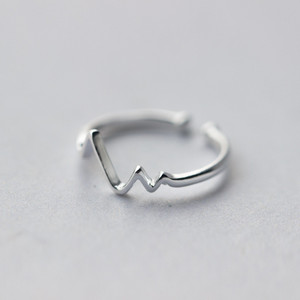 Image 2 - WANTME Genuine 100% 925 Sterling Silver Opening Adjustable Personalized Geometric Wavy Rings for Women Party Accessories Jewelry